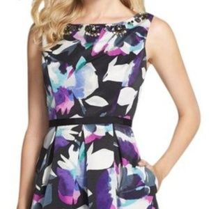 eliza j. floral faille sheath cocktail dress 10